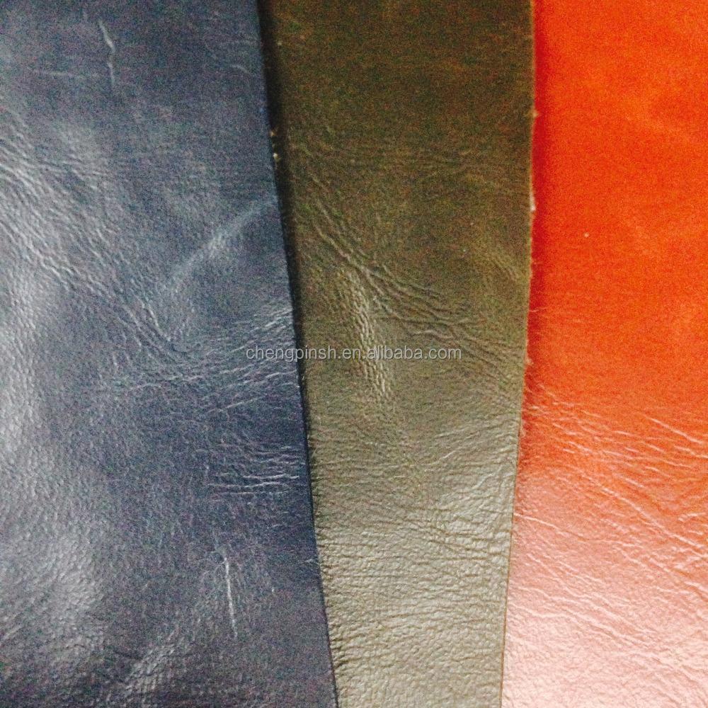 Ripple Crazy Horse PU Leather Fabric for Furniture sofa