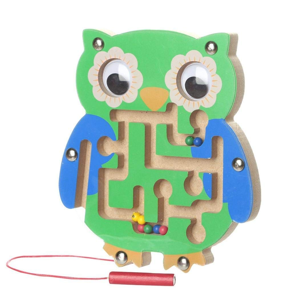 Livoty Magnetic Maze Toys, Kids Magnetic Maze Puzzle Toys Wooden Game Intellectual Jigsaw Board Animal Shape