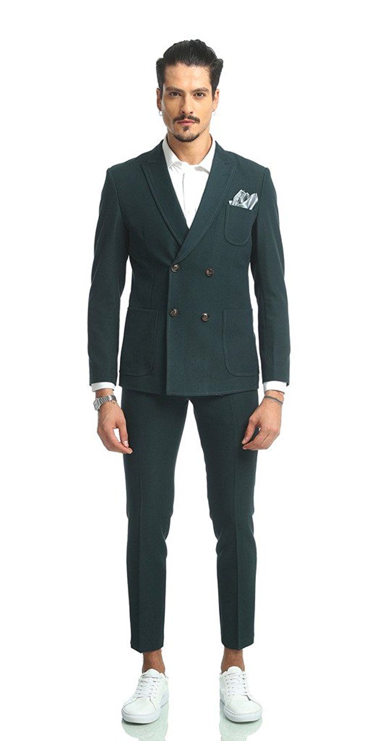 Pizoff Mens Two Pieces Double-breasted Notch-lapel Jacket Slim Fit Blazer Pant Sets