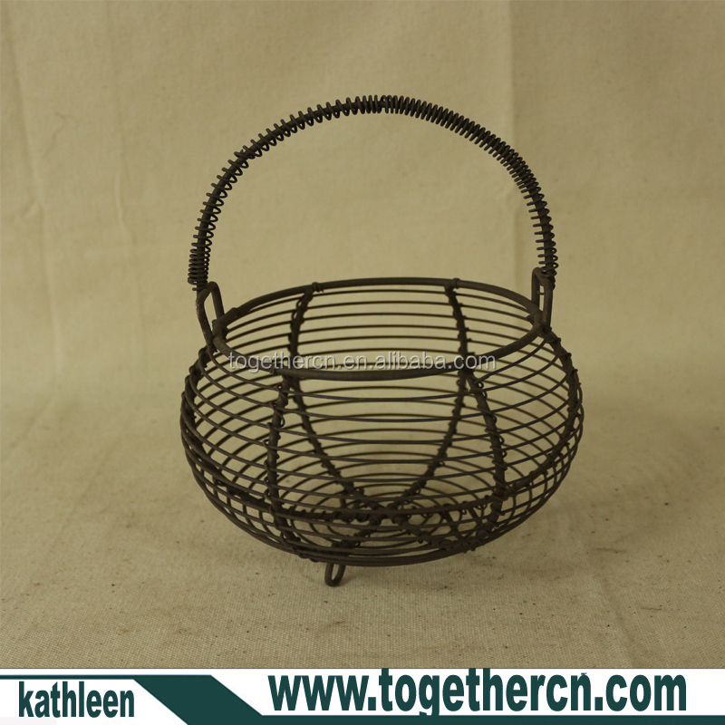 Country Vintage Style Rustic Metal Wire lantern Berry Egg Basket with Handles