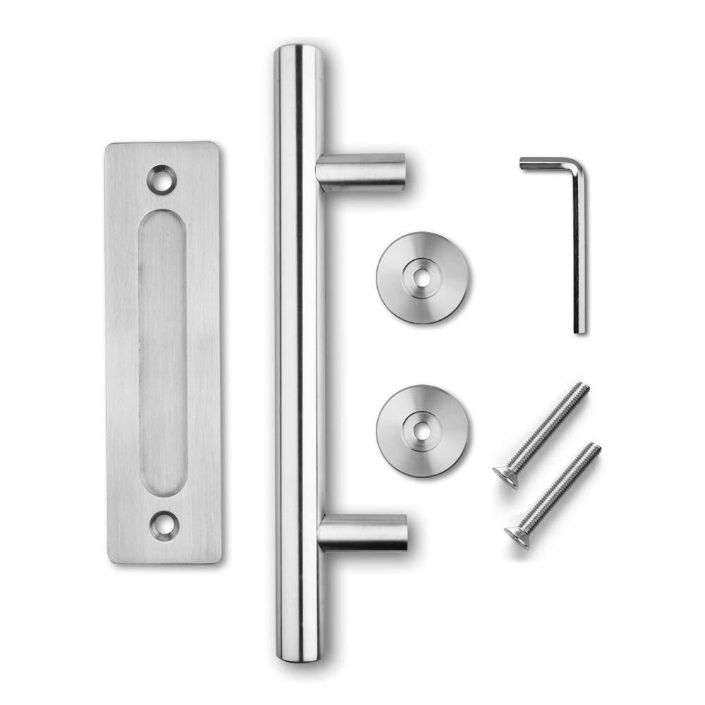 Hetai Sliding Door Pulls Handle for Barn Door Pull and Flush Door Handle Set Sliding Barn Door Hardware Handle Stainless Door Handles Large Commercial Door Handles for Barn Front Door Black