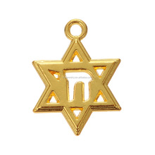 Religious Zinc Alloy 18K Gold Plated Star Of David With Chai Jewish Jewelry Charms