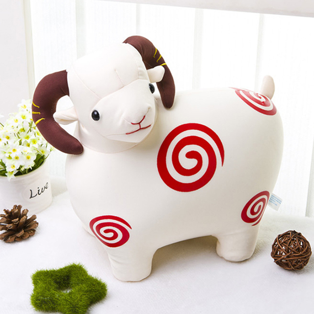 China factory custom plush red sheep round goat plush soft teddy sheep for home and festival decoration