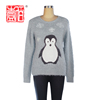 hot selling lady pullover blouse women wool sweater with penguin pattern