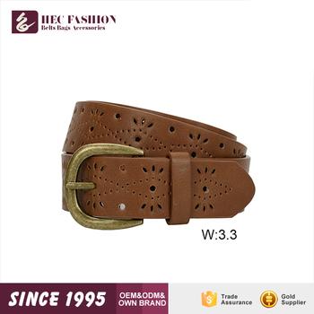 8d9743204 HEC 2019 Most Popular Custom Label Printed Hollow Designer Classic Leather  Belt