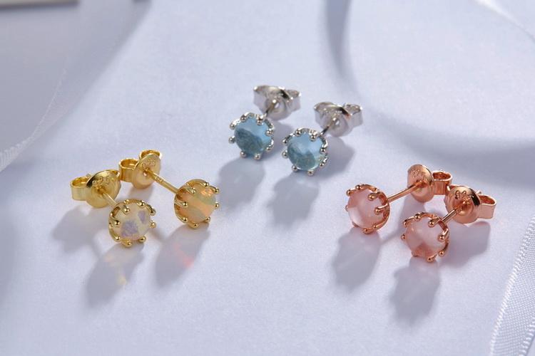 Guangzhou handmade 925 silver jewelry 14K gold genuine opal earrings stud