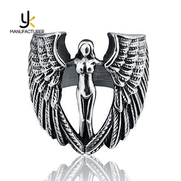 Religious Vintage Unisex Titanium Steel Angel Goddess Rings Jewelry Wholesale
