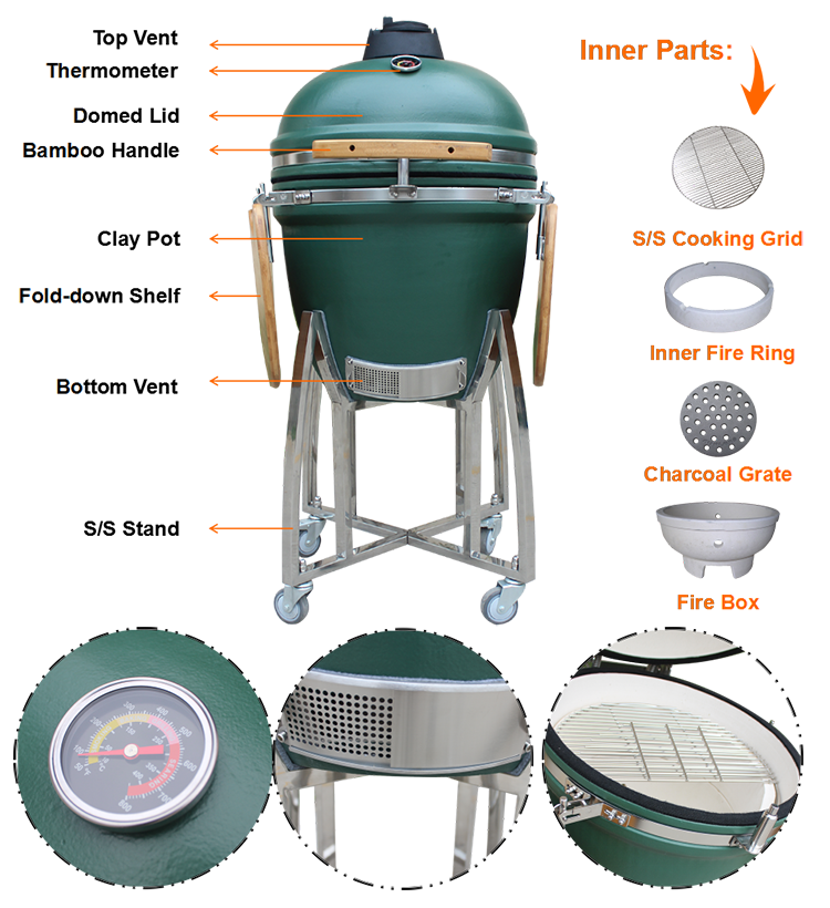 Auplex Leading Chefs Hot Sell Baked Goods Kamado Smoker