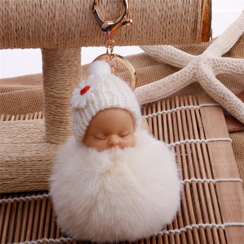 8CM Sleeping Baby Doll Keychain Pompom Rabbit Fur Ball Key Chain Fluffy Car Keyring Bag Charm Women Kids Gift Plush Fur Keychain