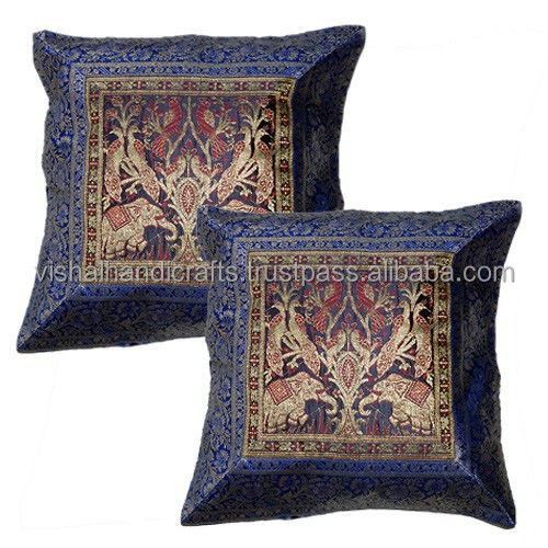 Indian Handmade Cushion Cover Antique Designer Silk Pillow Case India
