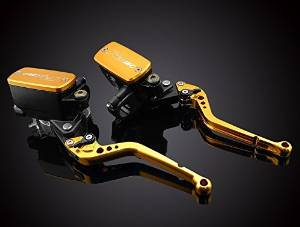 Motorcycle Racing CNC Dual Hydraulic Clutch Brake Master Cylinder Reservoir Racing Logo Levers Kit Gold Fit For KAWASAKI VERSYS 2006-2008