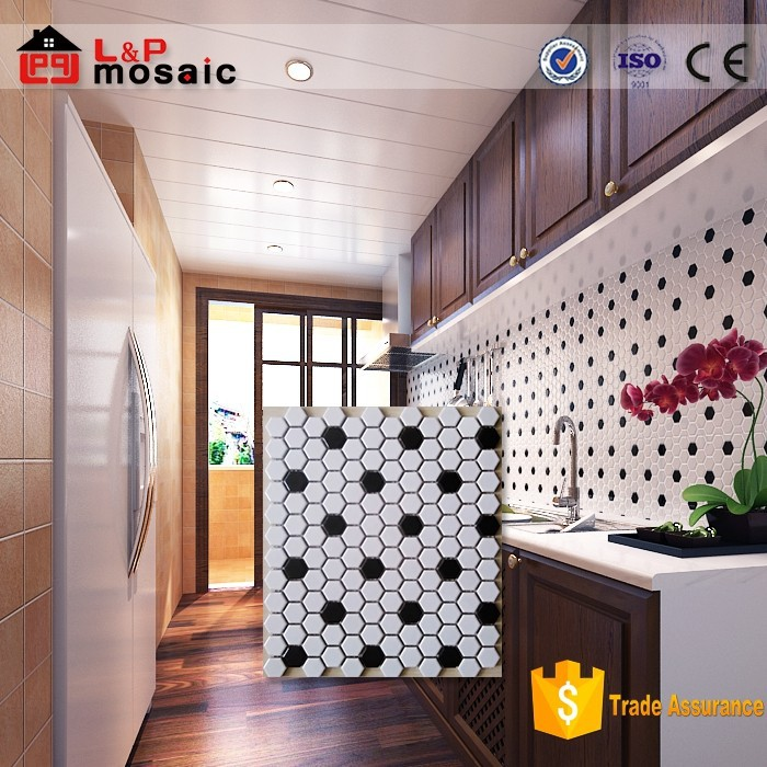 2015 hot sale hexagonal and round black and white mosaic tile