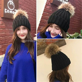 2018 Matching Knitted Hats Warm Crochet Beanie Hats Winter Raccoon Dog Fur  Pompom Kids Children Mommy Hat Caps - Buy Winter Real Fur Ball Beanie