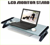 LY-DSG26HS Top Grade Ergonomic Design Glass & Plastic Monitor Stand With USB Hub