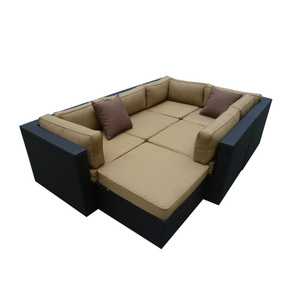 Good quality cheap metal frame rattan consist sofa bed