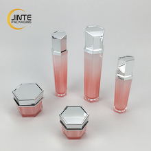 2018 new products beautiful <span class=keywords><strong>화장품</strong></span> 포장 sets 빈 hexagon 아크릴 spray 병 및 아크릴 cream jar