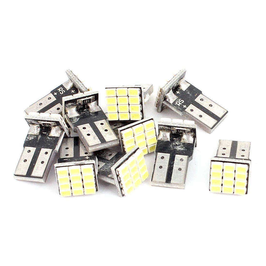 uxcell 10 Pcs T10 1210 12-SMD Wedge Type Single Side White LED Lamp Internal