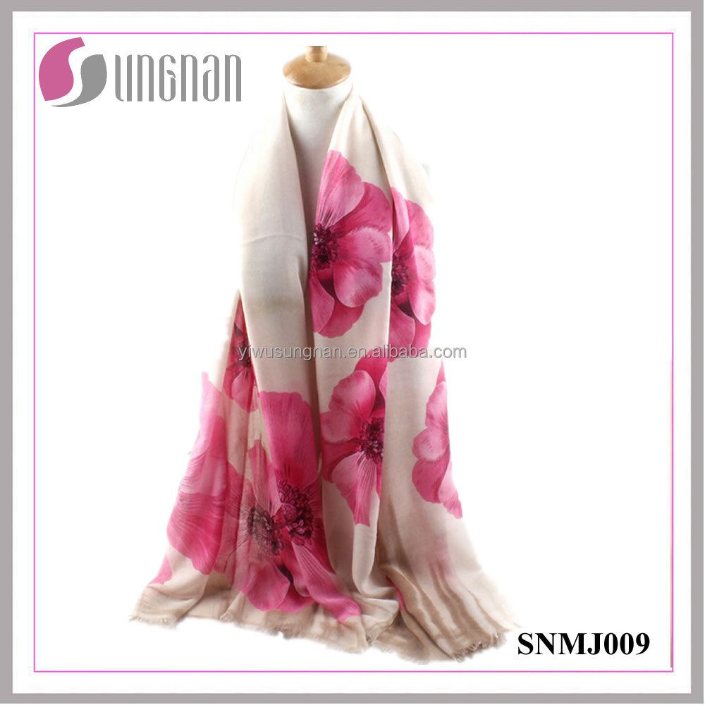 Latest Elegance Noble Ladies Shawl Begonia Print Satin Cotton Scarf