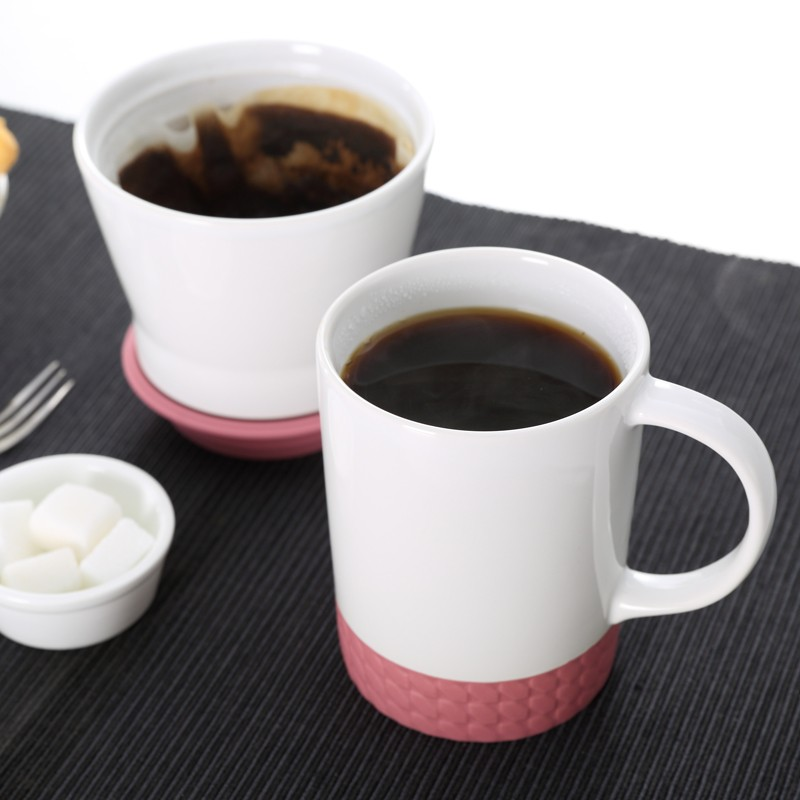 Coffee tools stoneware filter coffee dripper with silicone coaster