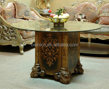 Hand Painting Round Coffee Table With Gl Top Exquisite Wood Carved Side Clical Style Living Room End View Wooden
