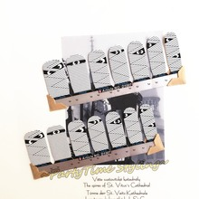 Funny Stripes Mummy Nail Arts Sticker 14 pcs set Waterproof Nail Decals Art Stickers Gel Polish