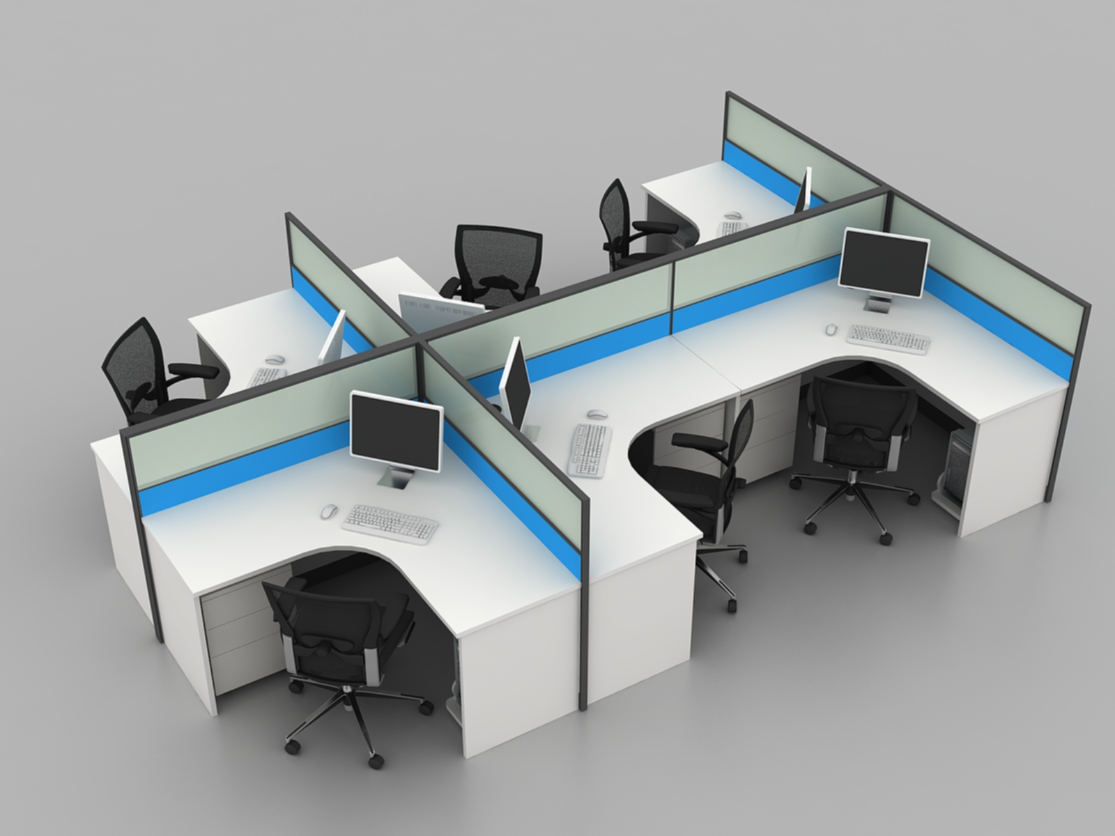 L Shape 4 Seat Modular Glass call center office cubicles