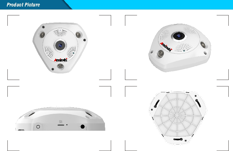 2017 Yeni 360 Derece Panoramik Kamera 1.3MP Balıkgözü IP Camea wifi 3D V R Video Kamera PoE IP wirless