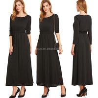black long formal dress plus size plain solid color elegant lady black dress long sleeve womens maxi dress for women summer
