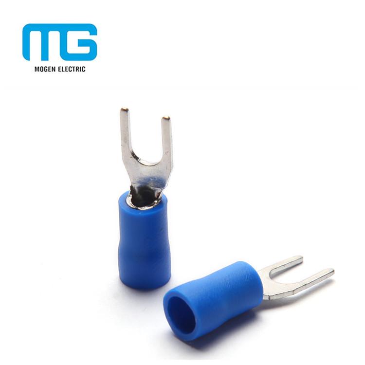 100pcs 16-14 Gauge Spade Fork Terminal Blue #10 Stud Insulated Wire Crimp SV2-5
