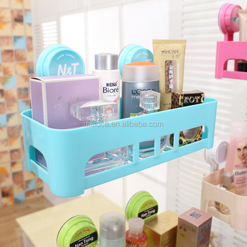 New Suction Cup Wall Mounted Multi Function Plastic Bathroom Shelf Rack  Shampoo Holder Sundries Holder