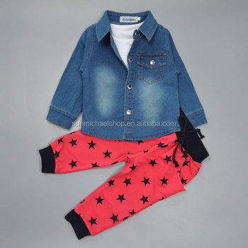 Boys 3 Pieces Long Sleeved Jeans Jacket White Vest Red Pant Outfit
