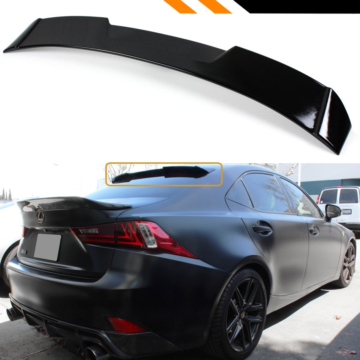 Cuztom Tuning Fits for 2014-2018 Lexus IS250 IS350 IS200T VIP Style Rear Roof Window Spoiler Wing