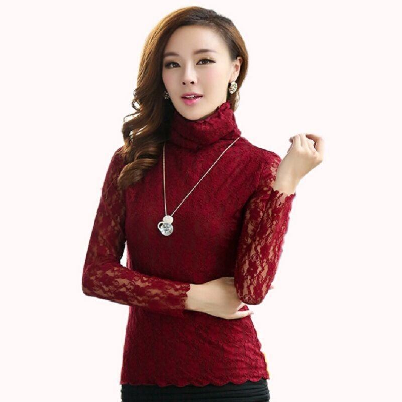 Lace Women T Shirt  2015 Autumn Long Sleeve Turtleneck Shirt Women Casual Tee Shirt Sexy Crochet Women Tops Plus Size Blouses