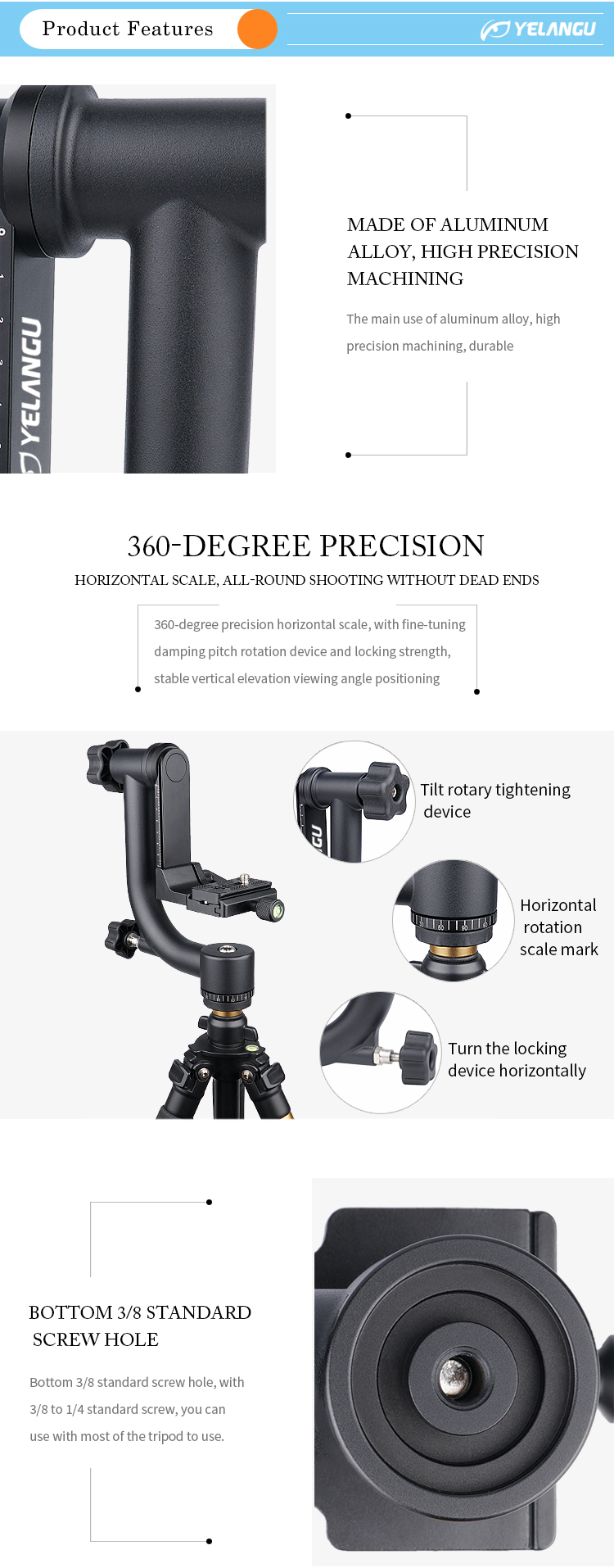YELANGU A17 360 Degree Angle Panorama Gimbal Dslr Camera Fluid Tripod Ball Head