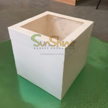 Plain white Tall cake box met clear window
