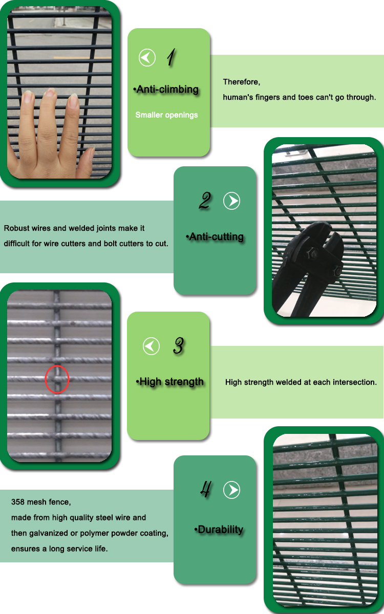PVC Coated Anti-climb 358 Security Fence Prison Wire Mesh Fence