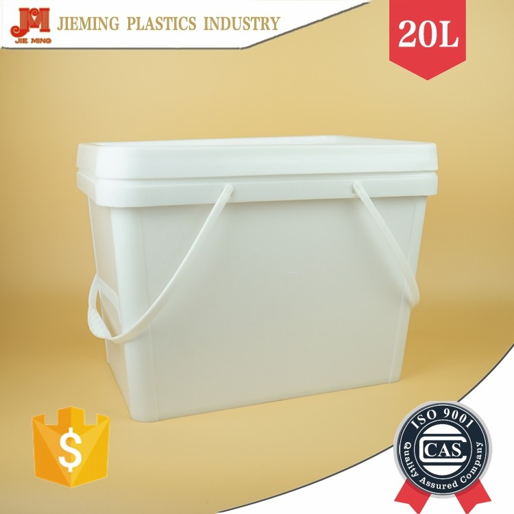 20L Rectangular Plastic Box with Lid, Square Plastic Bucket with Handle