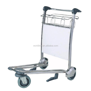 3 Wheel OEM Stainless Steel Baggage Airport Carts Airport Trolleys