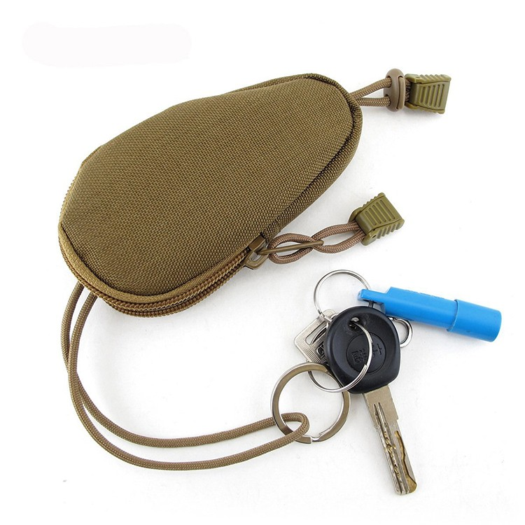 Outdoor waterproof stylish compact key holder organizer case, travel coins pouch accessory bag with key ring