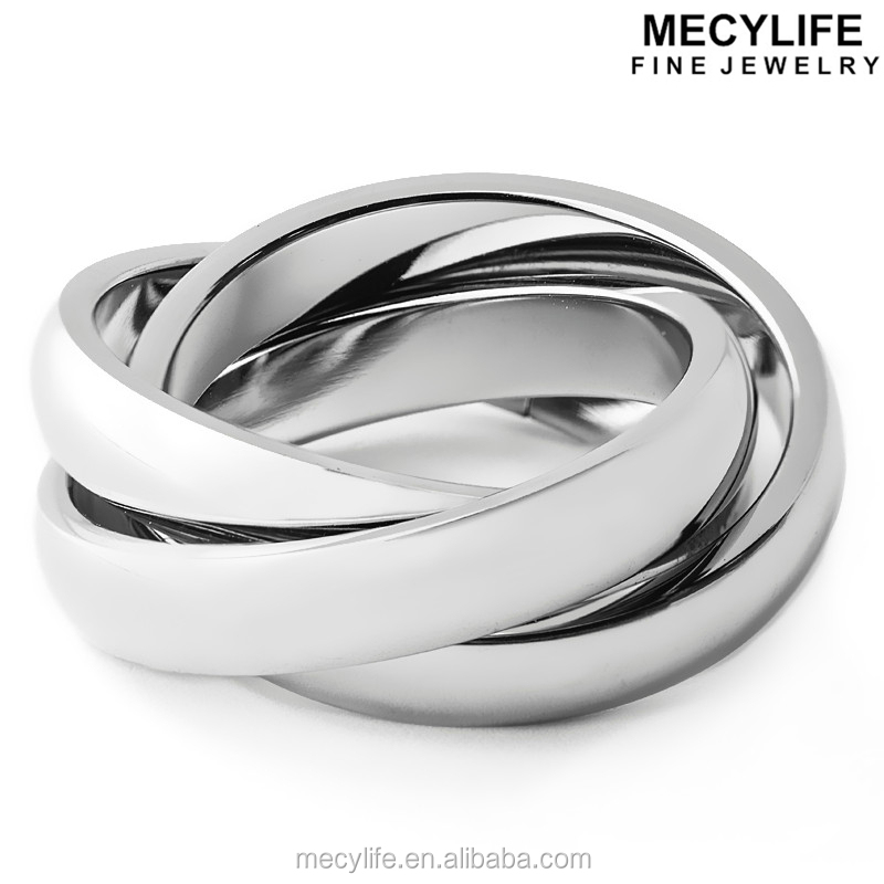 MECYLIFE High Polished Stainless Steel Intertwined Ring Blanks