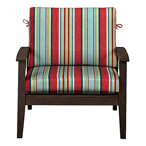 """Home Improvements Outdoor Patio Deep Seat Relaxed Chair Cushion Set Seasonal Replacement Cushions 17""""x24""""x4-1/2 back; 24""""x24""""x4-1/2 seat, 27 Prints/Colors (Red Green Blue Stripe)"""
