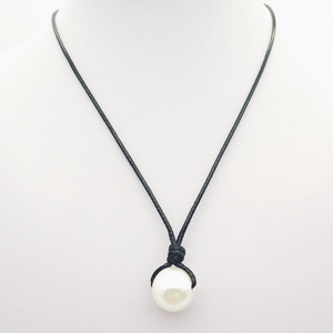 Adjustable real freshwater pearls leather necklace