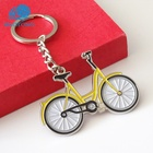 Wholesale Custom made metal metal 3D soft enamel yellow bike car logo key ring keychain