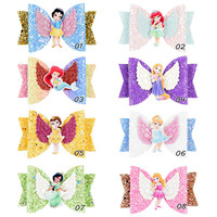New style hot-sales baby glitter hair bows boutique small wing hair bow