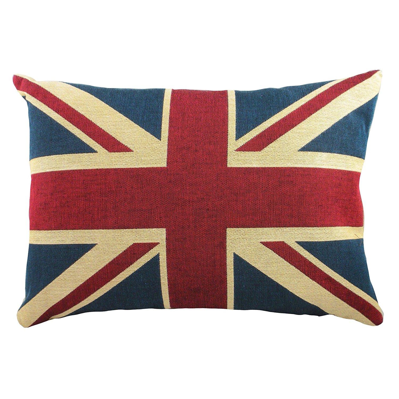Quality Linen/cotton Fabric British Vintage Style Union Jack Flag Lumbar Pillow Cover Kidney Pillowcase