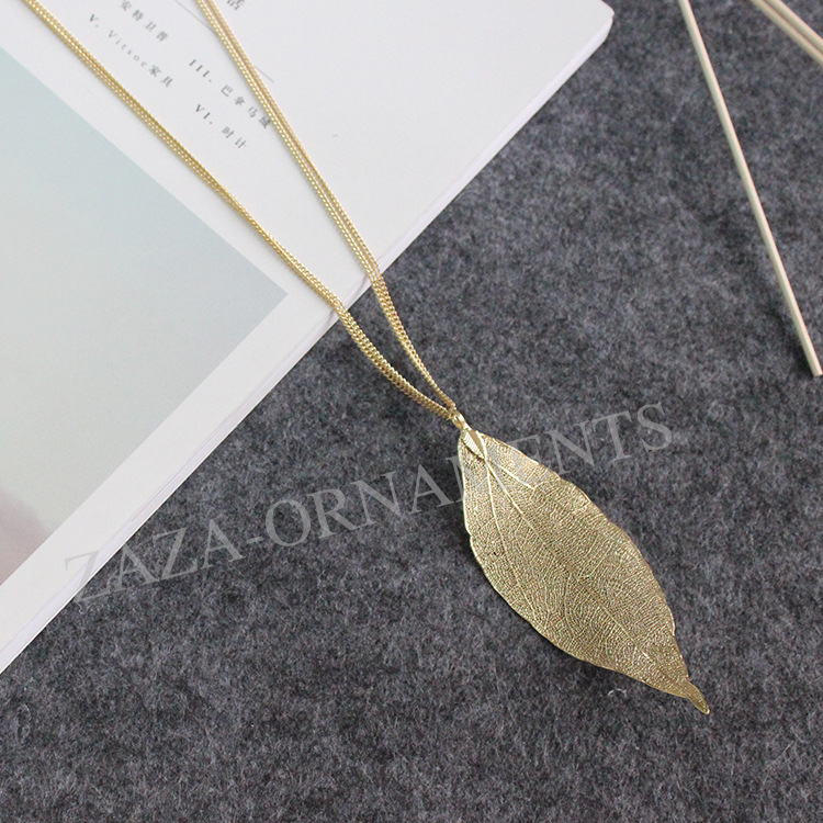 diseo simple original bastante hojas de cobre colgante de collar de la joyera de oro cadenas
