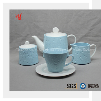 Classic blue elegant ceramic coffee and tea set with simple design