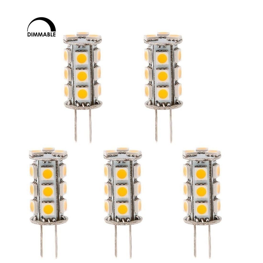 HERO-LED DTG6-18T-DW Dimmable Back Pin Tower GY6.35 Low Voltage 12V LED Halogen Replacement Bulb, 2.5W, 20-25W Equal, Daylight White 5000K, 5-Pack