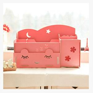 Petty Cabin DIY Creative Wooden Multifunctional Cosmetic Desktop Storage Rack Drawer Make-up Tool Storage Box (Watermelon Red)