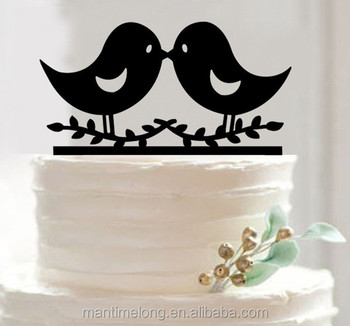Bird Shape Cake Topper Acrylic Silhouette Wedding